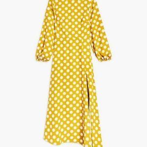 Topshop Dresses - NWT Topshop Yellow Polka Dot Midi Dress